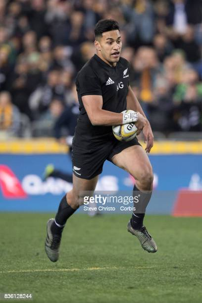 August 19: Rieko Ioane of the All Blacks scores a try during The Rugby Championship Bledisloe Cup match between the Australian Wallabies and the New...