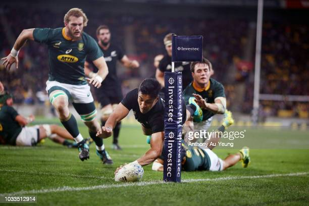 Rieko Ioane of the All Blacks scores a try during The Rugby Championship match between the New Zealand All Blacks and the South Africa Springboks at...