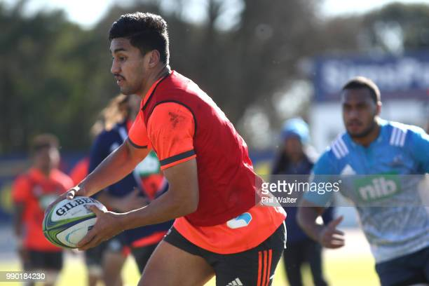 Rieko Ioane of the Auckland Blues runs with the ball during a Blues Super Rugby training session at Blues HQ on July 3 2018 in Auckland New Zealand