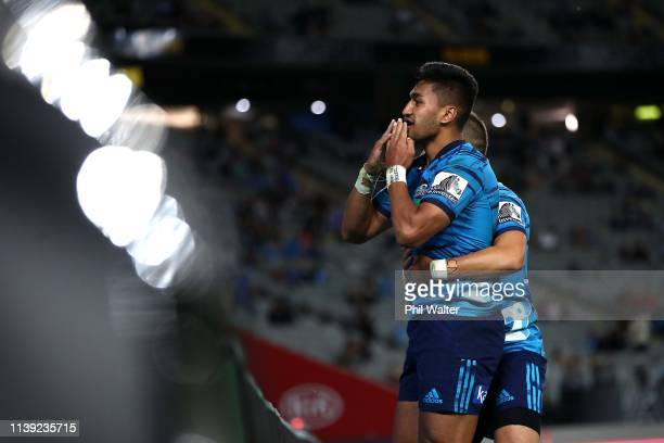 Rieko Ioane of the Blues celebrate his try during the round 7 Super Rugby match between the Blues and the Stormers at Eden Park on March 30 2019 in...