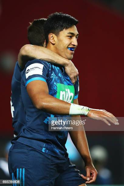 Rieko Ioane of the Blues celebrates after scoring a try during the match between the Auckland Blues and the British Irish Lions at Eden Park on June...