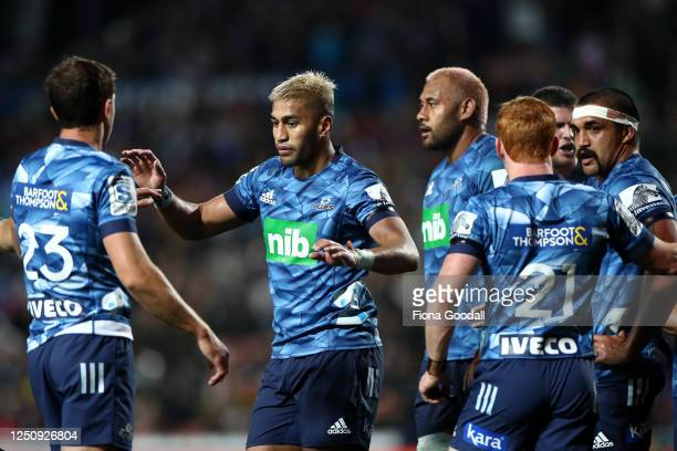 Rieko Ioane of the Blues celebrates during the round 2 Super Rugby Aotearoa match between the Chiefs and the Blues at FMG Stadium Waikato on June 20,...