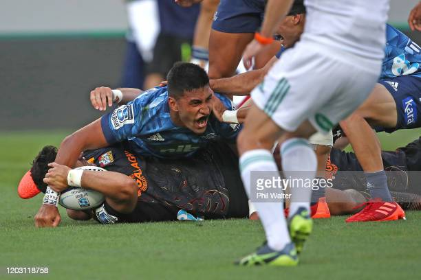 Rieko Ioane of the Blues celebrates his try during the round one Super Rugby match between the Blues and the Chiefs at Eden Park on January 31 2020...