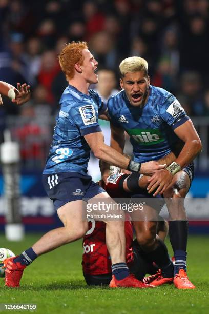 Rieko Ioane of the Blues celebrates his try with Finlay Christie during the round 5 Super Rugby Aotearoa match between the Crusaders and the Blues at...