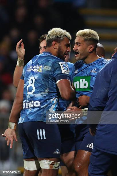 Rieko Ioane of the Blues celebrates his try with Hoskins Sotutu during the round 5 Super Rugby Aotearoa match between the Crusaders and the Blues at...