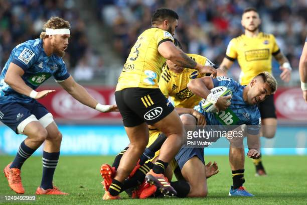 Rieko Ioane of the Blues is tackled during the round 1 Super Rugby Aotearoa match between the Blues and the Hurricanes at Eden Park on June 14, 2020...