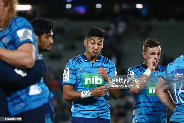 Rieko Ioane of the Blues looks on after losing the round 1 Super Rugby match between the Blues and the Crusaders at Eden Park on February 16 2019 in...