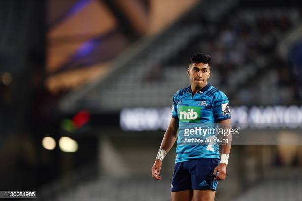Rieko Ioane of the Blues looks on during the round 1 Super Rugby match between the Blues and the Crusaders at Eden Park on February 16 2019 in...