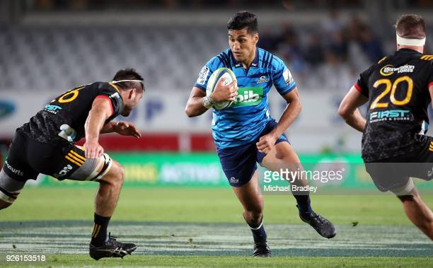 Rieko Ioane of the Blues makes a break during the round two Super Rugby match between the Blues and the Chiefs at Eden Park on March 2 2018 in...
