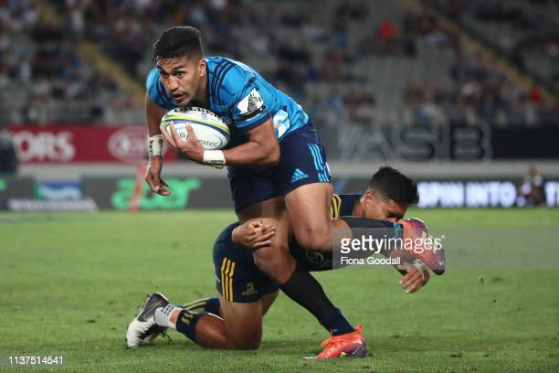 Rieko Ioane of the Blues makes a break up the sideline during the round six Super Rugby match between the Blues and the Highlanders at Eden Park on...