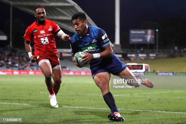Rieko Ioane of the Blues scores a try during the round 4 Super Rugby match between the Blues and the Sunwolves at QBE Stadium on March 09 2019 in...