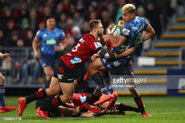 Rieko Ioane of the Blues scores a try during the round 5 Super Rugby Aotearoa match between the Crusaders and the Blues at Orangetheory Stadium on...