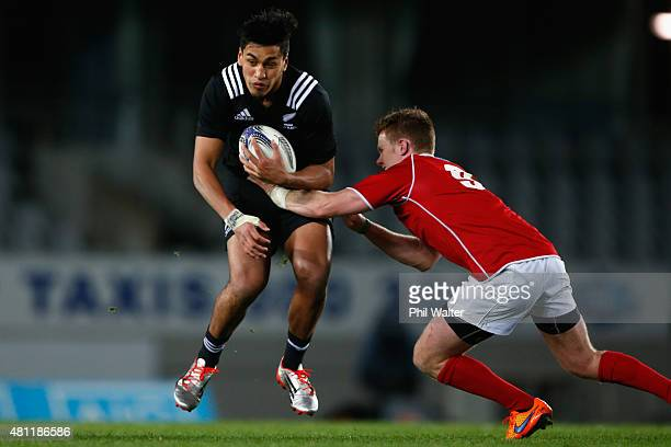Rieko Ioane of the Maori All Blacks is tackled during the match between the New Zealand Maori All Blacks and the New Zealand Barbarians at Eden Park...