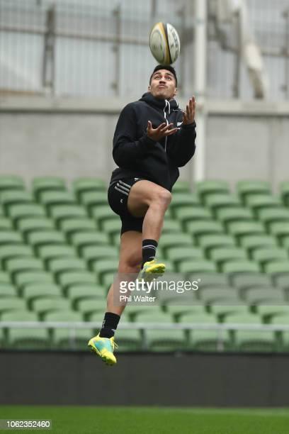 Rieko Ioane of the New Zealand All Blacks during the All Black captains run at AVIVA Stadium on November 16 2018 in Dublin Ireland