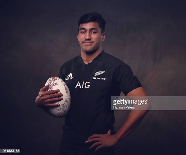 Rieko Ioane poses during a New Zealand All Blacks portraits session on May 21 2018 in Auckland New Zealand