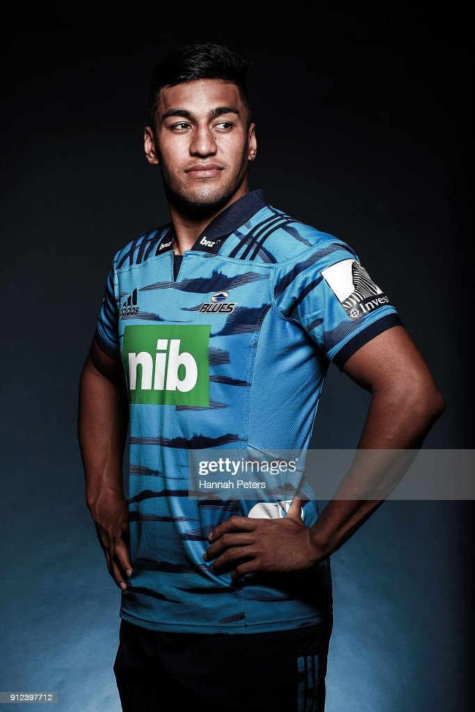 Rieko Ioane poses during the Blues Super Rugby headshots session on January 22, 2018 in Auckland, New Zealand.