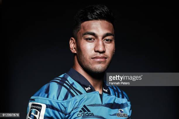 Rieko Ioane poses during the Blues Super Rugby headshots session on January 22 2018 in Auckland New Zealand