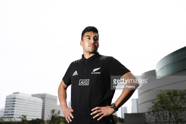 Rieko Ioane poses for a portrait following a New Zealand All Blacks training session on October 23 2018 in Tokyo Japan