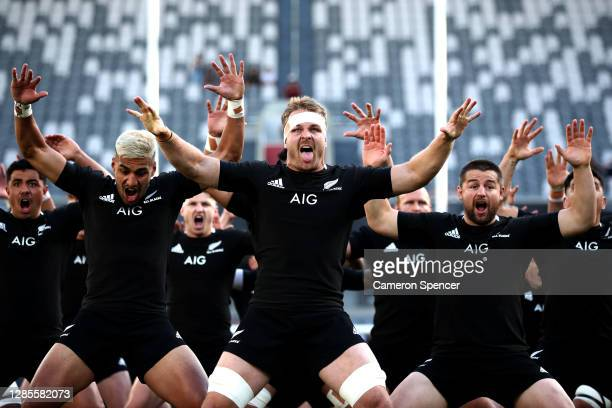 Rieko Ioane, Sam Cane and Dane Coles of the All Blacks perform the haka ahead of the 2020 Tri-Nations rugby match between the New Zealand All Blacks...