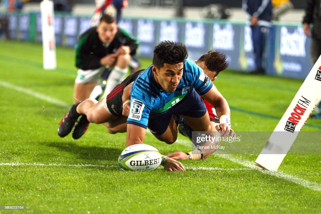 Rieko Ioane scores a try for the Blues during the round 14 Super Rugby match between the Blues and the Crusaders at Eden Park on May 19, 2018 in Auckland, New Zealand.