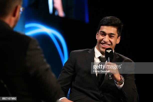 Rieko Ioane wins the Tom French Memorial Maori Player of the Year during the ASB Rugby Awards 2018 at Sky City on December 14 2017 in Auckland New...