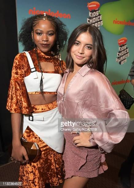 Riele Downs and Isabela Moner attend Nickelodeon's 2019 Kids' Choice Awards at Galen Center on March 23 2019 in Los Angeles California