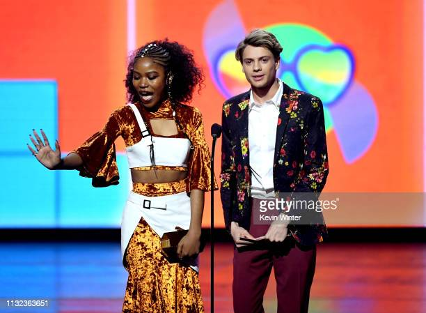 Riele Downs and Jace Norman speak onstage at Nickelodeon's 2019 Kids' Choice Awards at Galen Center on March 23 2019 in Los Angeles California