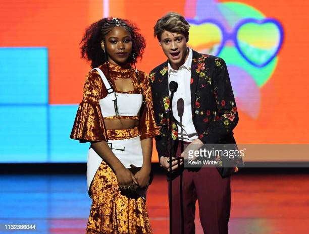Riele Downs and Jace Norman speak onstage at Nickelodeon's 2019 Kids' Choice Awards at Galen Center on March 23, 2019 in Los Angeles, California.