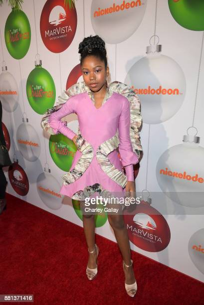 Riele Downs at the premiere of The Nickelodeon Movie 'Tiny Christmas' on November 28 2017 in Hollywood California