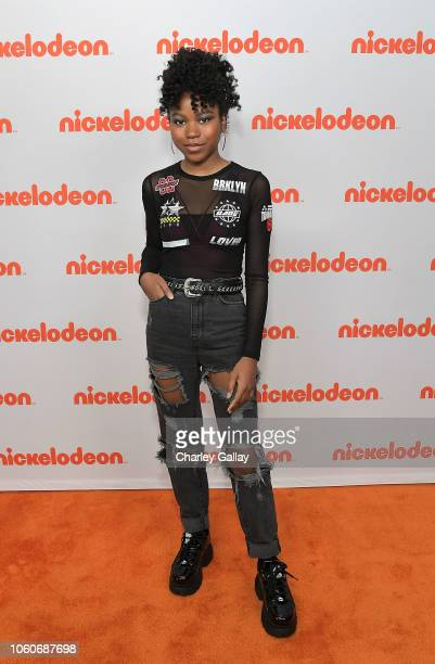 Riele Downs attends Nickelodeon' Holiday Party With Casts Of Cousins For Life And Henry Danger at Nickelodeon Studios on November 10 2018 in Burbank...