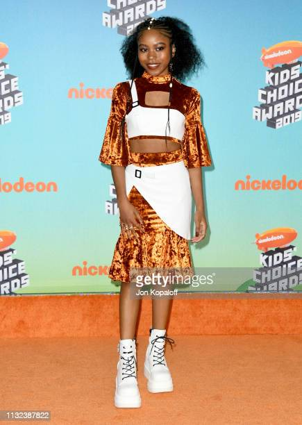 Riele Downs attends Nickelodeon's 2019 Kids' Choice Awards at Galen Center on March 23 2019 in Los Angeles California