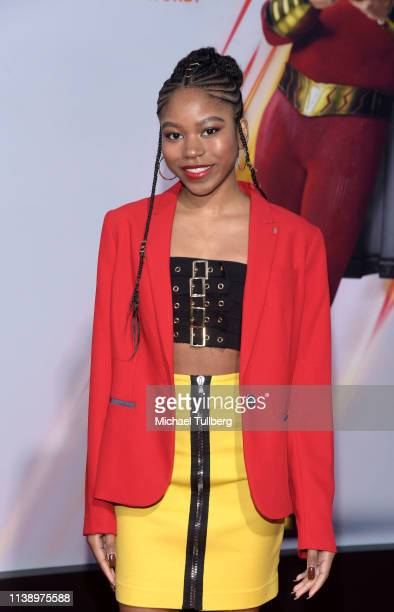 "Riele Downs attends the world premiere of ""Shazam!"" at TCL Chinese Theatre on March 28, 2019 in Hollywood, California."
