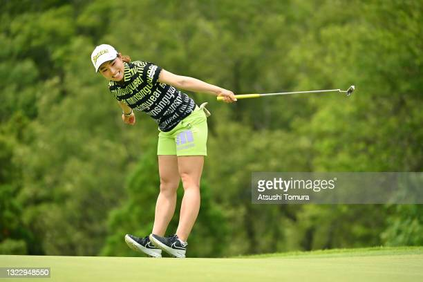 Rieru Shibusawa of Japan reacts after a putt on the 11th green during the second round of the Ai Miyazato Suntory Ladies Open at Rokko Kokusai Golf...