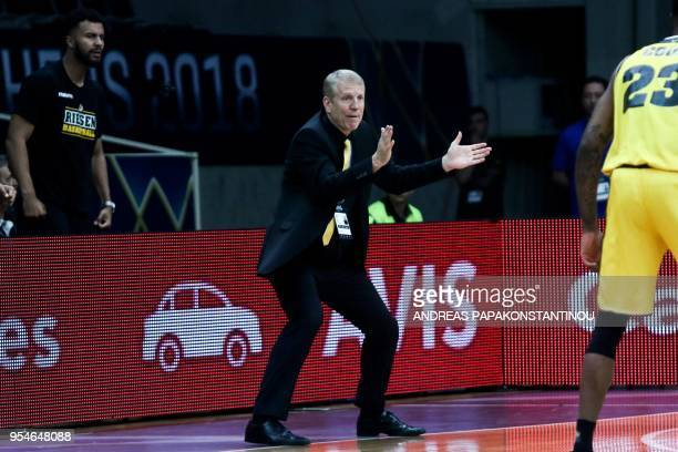 Riesen Ludwigsburg's head coach John Patric reacts during the final four Champions League basketball game between Riesen Ludwigsburg and AS Monaco at...