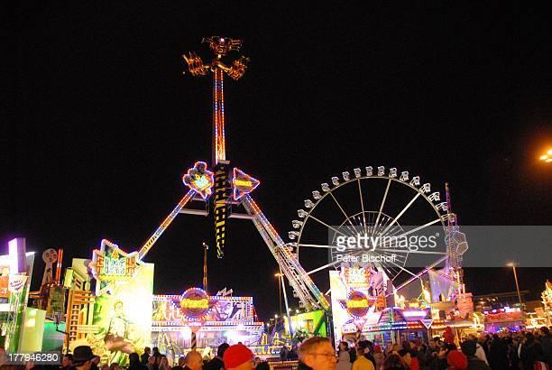 Riesenrad und Flash Bremer Freimarkt Bremen Deutschland Europa Fahrgeschäft Volksfest Jahrmarkt Kirmis bei Nacht Nachtaufnahme Beleuchtung Reise