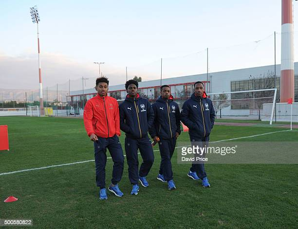 Riess Nelson Aaron Eyoma Tyrell Robinson and Kaylen Hinds of Arsenal check out the pitch before the match between Olympiacos and Arsenal on December...
