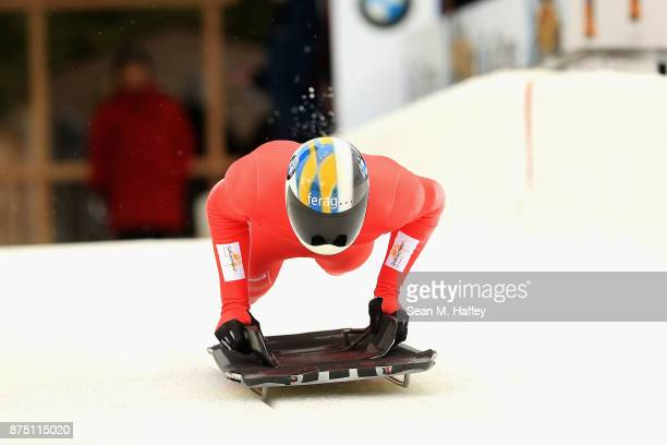 Riet Graf of Switzerland takes a training run in the Men's Skeleton during the BMW IBSF Bobsleigh + Skeleton World Cup at Utah Olympic Park November...