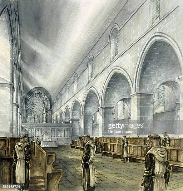 Rievaulx Abbey 13th century Interior view reconstruction drawing of the nave looking towards the new presbytery in the 13th century A former...
