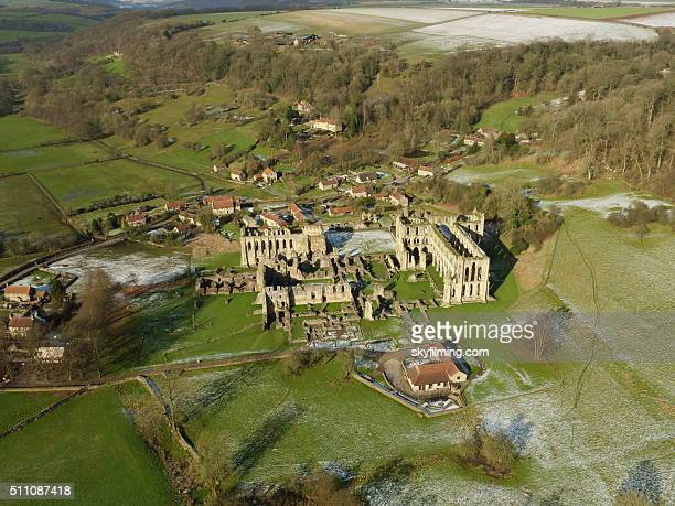rievaulx abbey in winter aerial photograph 2 - rievaulx abbey stock pictures, royalty-free photos & images