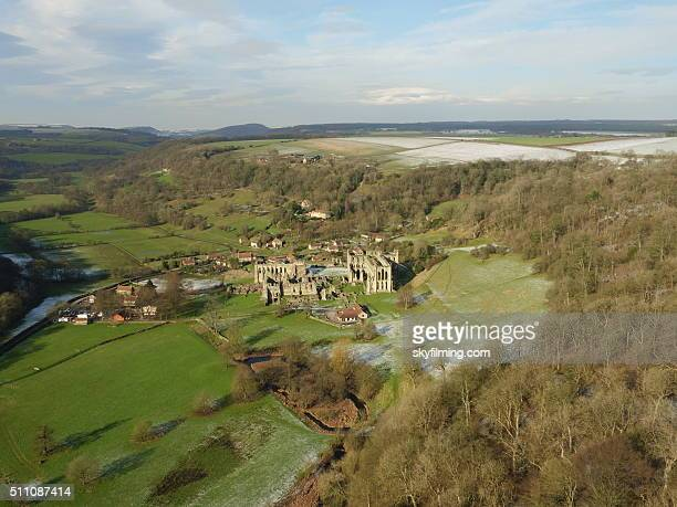 rievaulx abbey in winter aerial photograph 3 - rievaulx abbey stock pictures, royalty-free photos & images