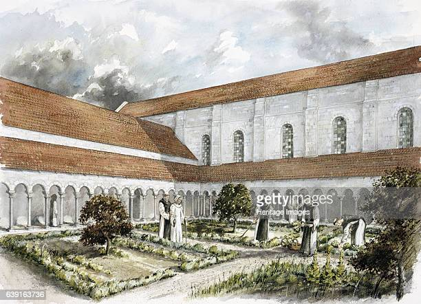 Rievaulx Abbey mid 13th century Reconstruction drawing of the infirmary cloister in the mid 13th century A former Cistercian abbey in Rievaulx near...