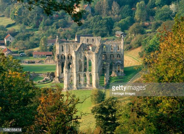 Rievaulx Abbey, North Yorkshire, 2010. View down onto the abbey, seen from Rievaulx Terrace. Originally founded in 1132, Rievaulx Abbey was one of...
