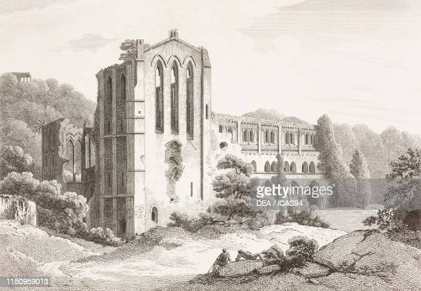 Rievaulx Abbey, United Kingdom, engraving by Byrne from a drawing by Nicholson, from Monasticon Anglicanum, The history of the ancient abbies, and...