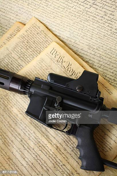 ar-15 rifle on us constitution - ar 15 stock pictures, royalty-free photos & images
