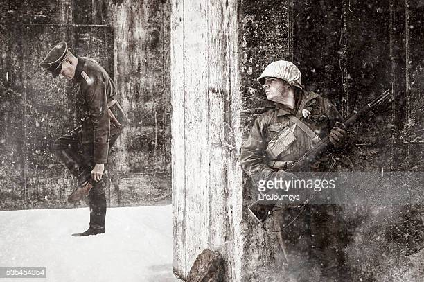 Rifle Ready WWII US Soldier Hiding From His Adversary