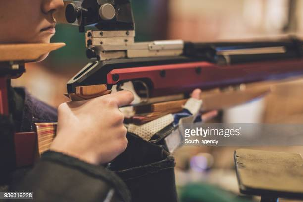 rifle shooter training - trigger stock photos and pictures
