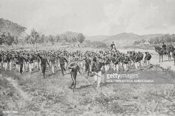 Riflemen charge during the summer maneuvers Italy drawing by Edoardo Matania from L'Illustrazione Italiana Year XXV No 31 July 31 1898