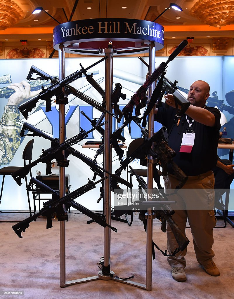 Rifles are displayed at the Yankee Hill Machine Co. booth at the 2016 National Shooting Sports Foundation's Shooting, Hunting, Outdoor Trade (SHOT) Show at the Sands Expo and Convention Center on January 19, 2016 in Las Vegas, Nevada. The SHOT Show, the world's largest annual trade show for shooting, hunting and law enforcement professionals, runs through January 23 and is expected to feature 1,600 exhibitors showing off their latest products and services to more than 62,000 attendees.
