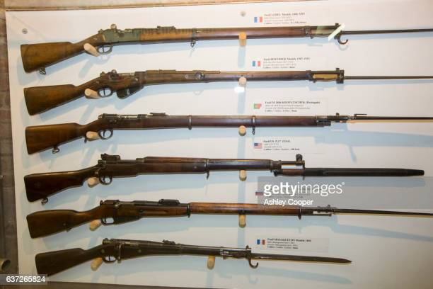 Rifles in the underground Battle of the Somme museum in Albert, which is in the ancient tunnels that were by the townsfolk to shelter during the war, France.