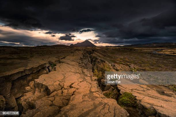 Rift in continental crust in the north of Iceland near the lake Myvatn.